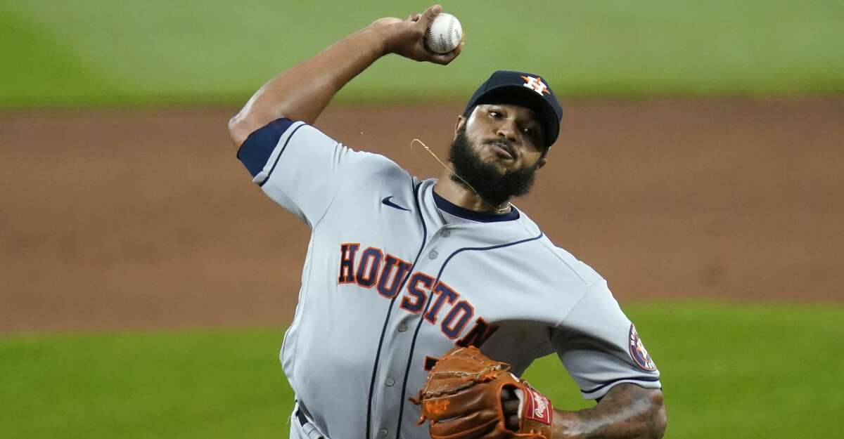 Houston Astros closing pitcher Josh James throws against the Seattle Mariners in the ninth inning of a baseball game Tuesday, Sept. 22, 2020, in Seattle. The Astros won 6-1. (AP Photo/Elaine Thompson)