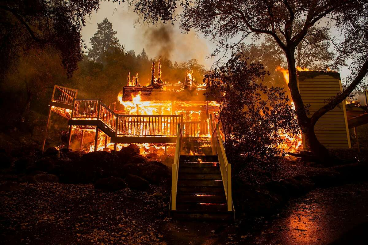 One of the many structures that burned after the Glass Fire ripped through the Meadowood resort in St. Helena Monday.