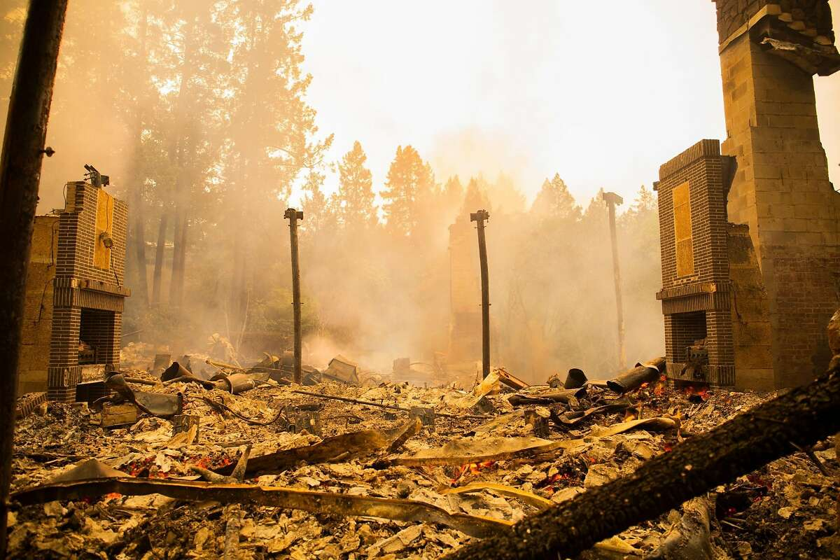 A three-star Michelin restaurant at Meadowood Napa Valley, lays in ruin after the Glass Fire ripped through on September 28, 2020 in St. Helena, CA.