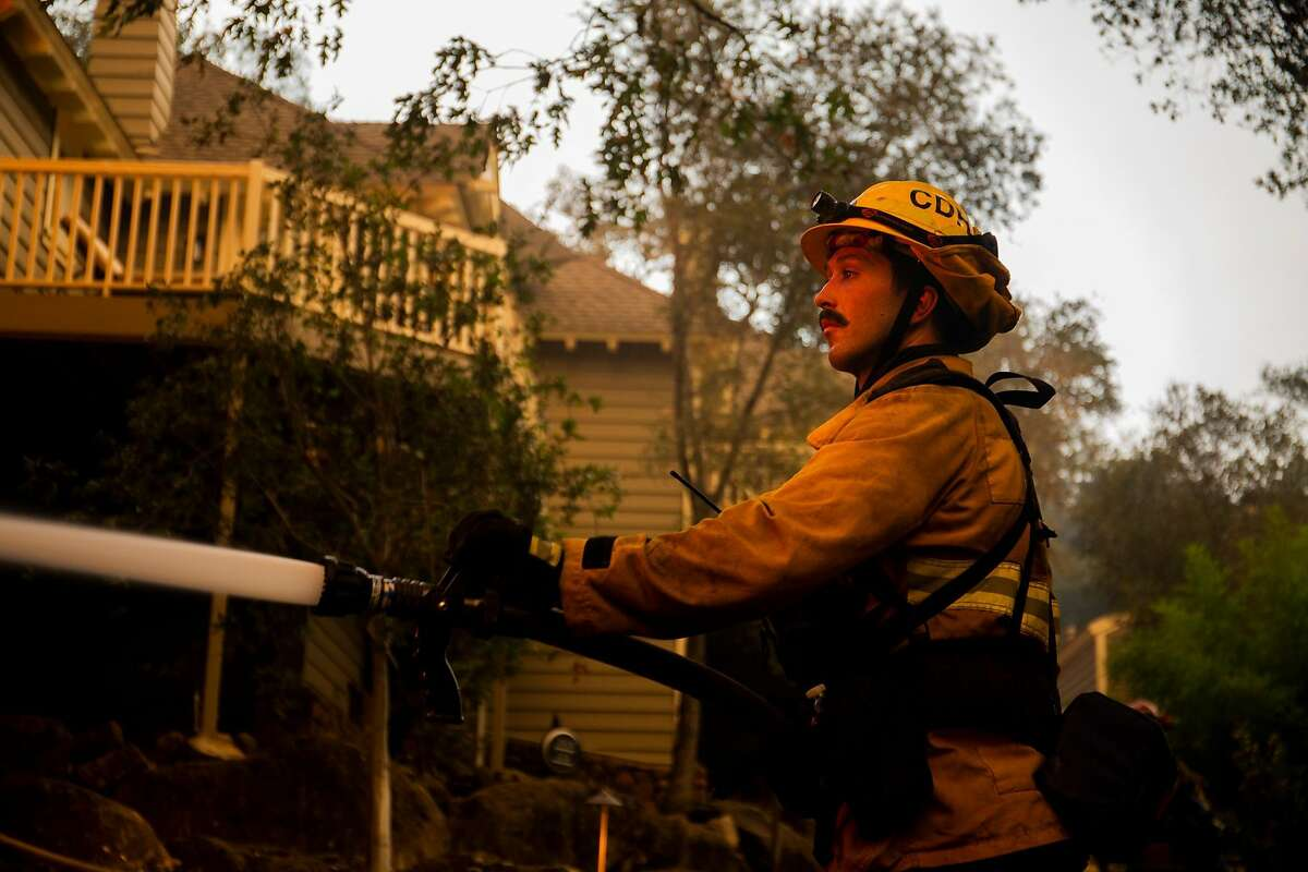 Josiah Maier, a firefighter with Cathedral City Fire, worked his second night on the Glass Fire Monday. He was based at the Meadowood Napa Valley resort for the evening.