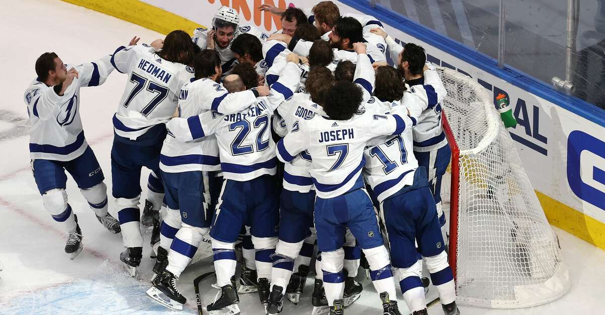 The Tampa Bay Lightning celebrate following the series-winning 2-0 victory over the Dallas Stars in Game Six of the 2020 NHL Stanley Cup Final at Rogers Place on September 28, 2020 in Edmonton, Alberta, Canada.