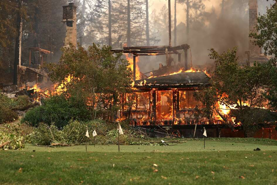 The main building and restaurant at Meadowood Napa Valley luxury resort burns after the Glass Incident Fire moved through the area on September 28, 2020 in St. Helena, California. The fast-moving Glass Incident, originally called the Glass Fire, has burned over 11,000 acres in Sonoma and Napa counties. The fire is zero percent contained. Much of Northern California is under a red flag warning for high fire danger through Monday evening.