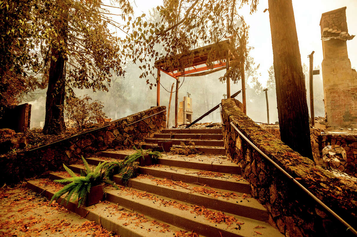 A staircase remains, Monday, Sept. 28, 2020, at the Restaurant at Meadowood, which burned in the Glass Fire, in St. Helena, Calif.