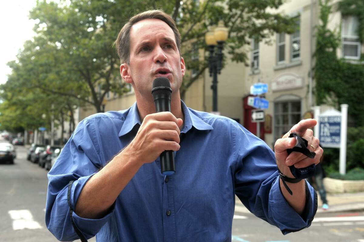 U.S. Rep. Jim Himes speaks during a rally in front of the Broad Street Steps, in Bridgeport, Conn. Sept. 3, 2020.