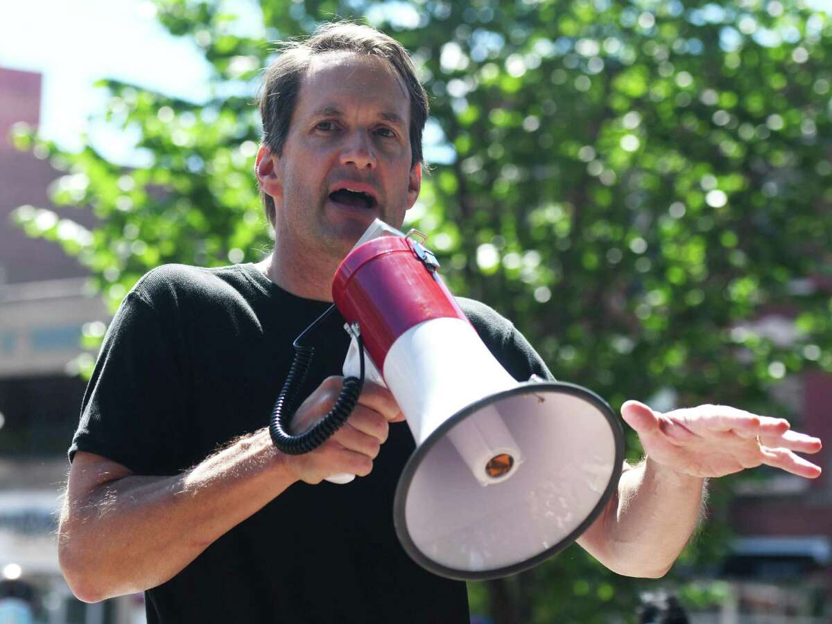 U.S Rep. Jim Himes, D-Conn, speaks at the Black Lives Matter protest at Columbus Park in Stamford, Conn. Sunday, June 7, 2020.