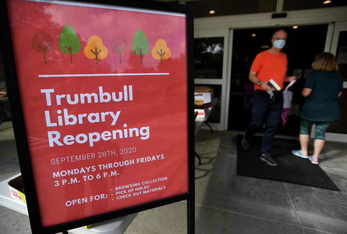 The first day of reopening at the Trumbull Library in Trumbull, Conn. on Monday, September 28, 2020.