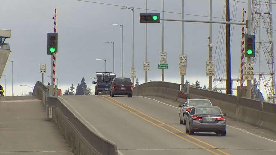 Vehicle traffic is still using the lower Spokane Street Bridge with the closure of the West Seattle Bridge. Photo: Courtesy Of KOMO News