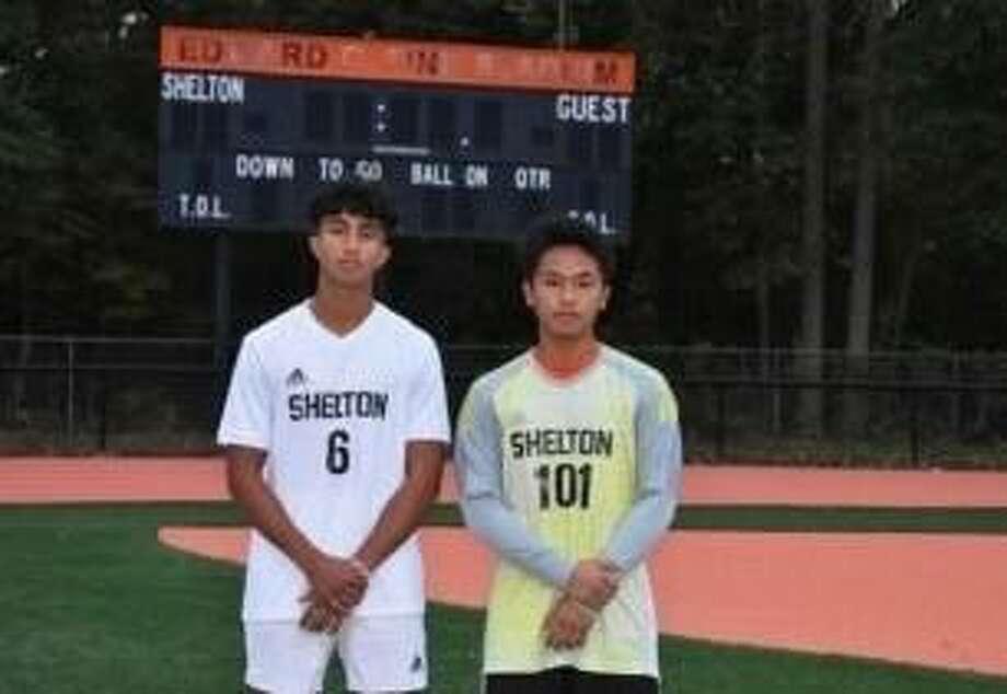 Deven Papadimitriou and Reino Sawan are Shelton boys' soccer captains. Photo: Shelton Athletics / Contributed Photo / Shelton Herald
