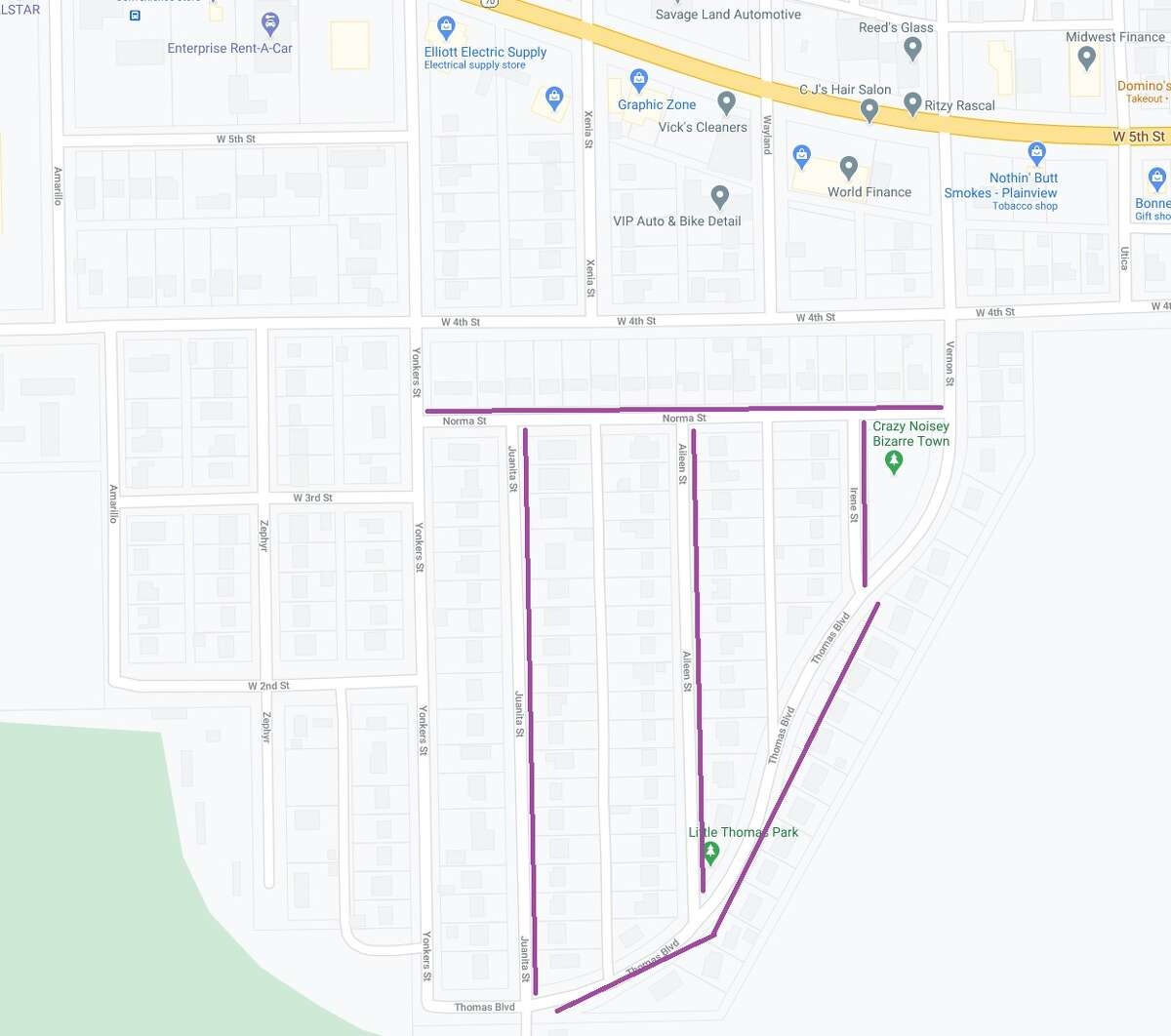 The City of Plainview plans to fog seal streets in central Plainview and in Westgate this week. Vehicles will have to be moved along the fog sealing areas.