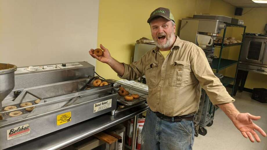 Uncle Bill makes apple cider doughnuts at March Farm in Bethlehem, Connecticut. Photo: Courtesy Of March Farm