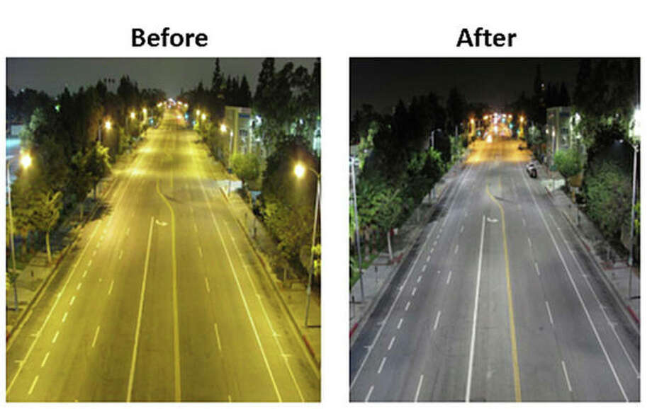 This before and after image shows the change from older, sodium vapor, mercury vapor and metal halide streetlights to LED streetlights on the same stretch of roadway.