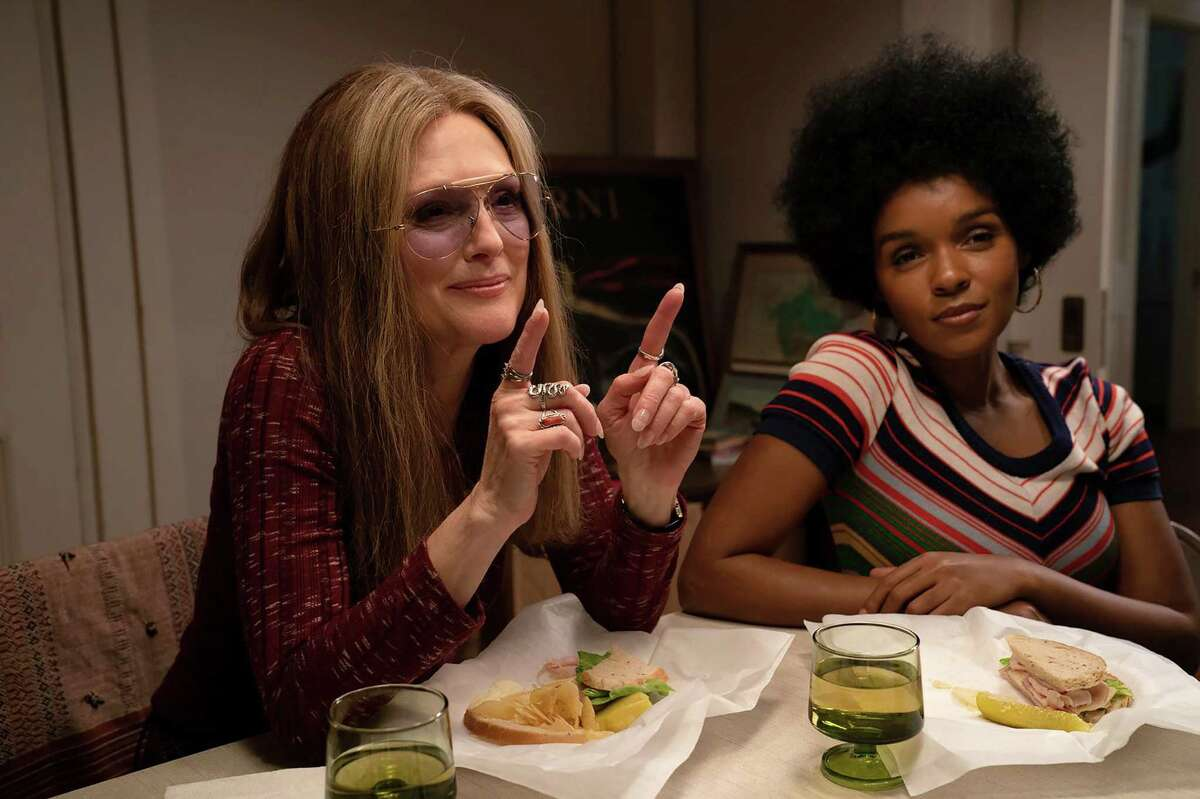 """Gloria Steinem (Julianne Moore), left, and Dorothy Pitman Hughes (Janelle Monáe) in """"The Glorias."""""""