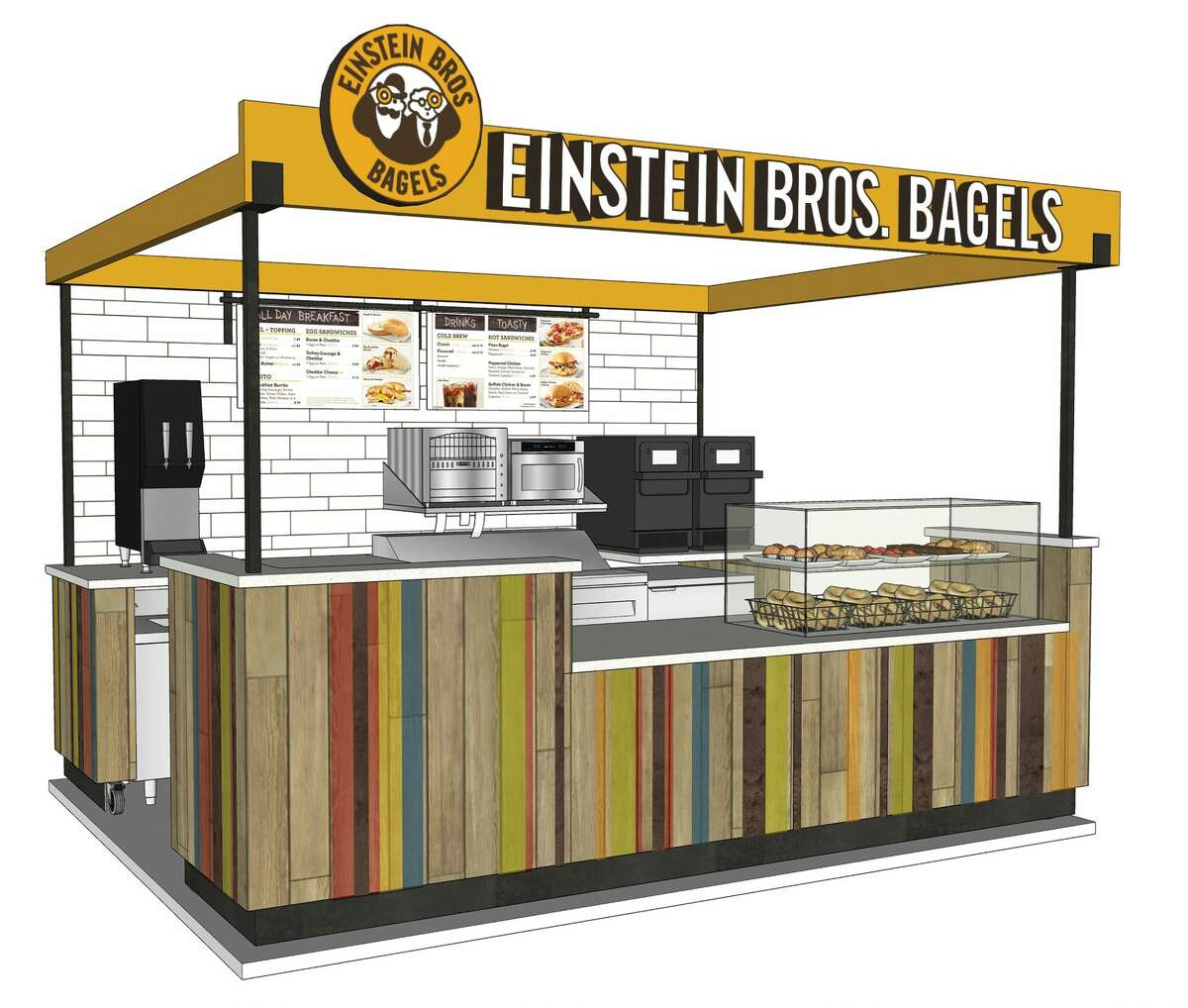Einstein Bros. Bagels will open locations inside convenience stores for the first time. The company inked a five-store development deal with King Fuels in Houston.