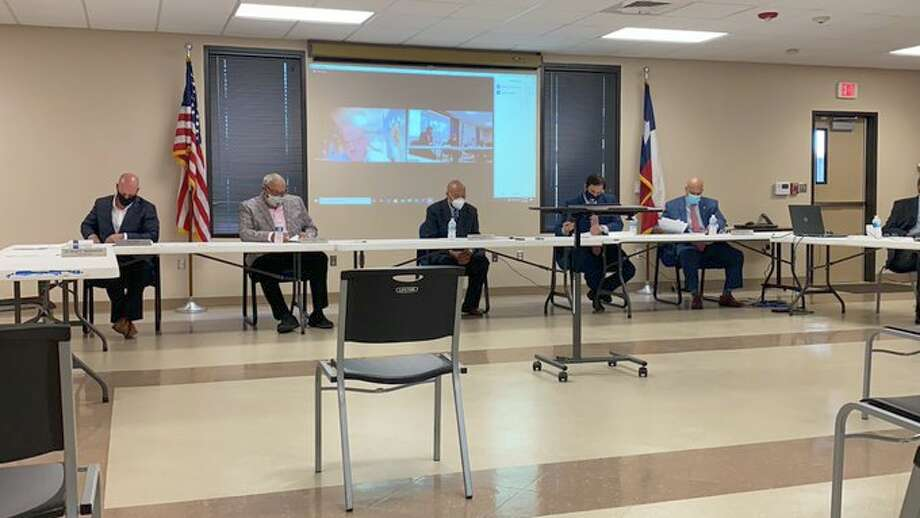 The Jefferson County Drainage District 6 board met for a hybrid in-person/Zoom meeting on Tuesday to consider revoking its previous budget approval and to approve a new budget. Photo: Kaitlin Bain/The Enterprise