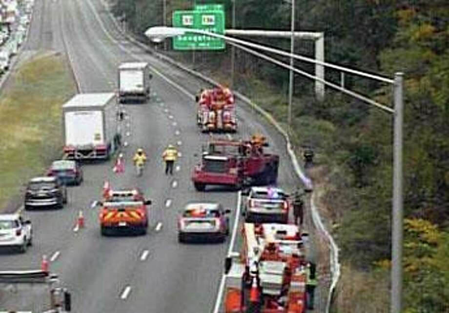 A truck went down the embankment off the side of I-95 in Norwalk, Conn., on Tuesday, Sept. 29, 2020. Photo: Contributed Photo / CTDOT