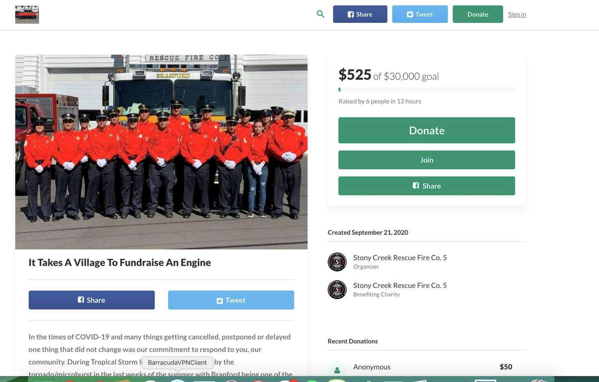 """Stony Creek Rescue Fire Company 5 is working with the town of Branford to replace the current """"Engine 5"""", a 1993 Supthen engine. According to the recommended guidelines, fire engines should be replaced or refurbished every 20 years, which would have been 2013."""