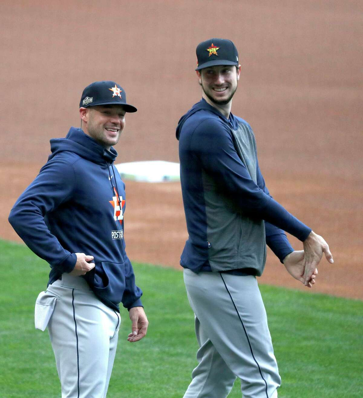 Houston Astros Chas McCormick smiles with the rest of the team as they warmed up during batting practice before the start of an MLB Wild Card game at Target Field, Tuesday, September 29, 2020, in Minneapolis.