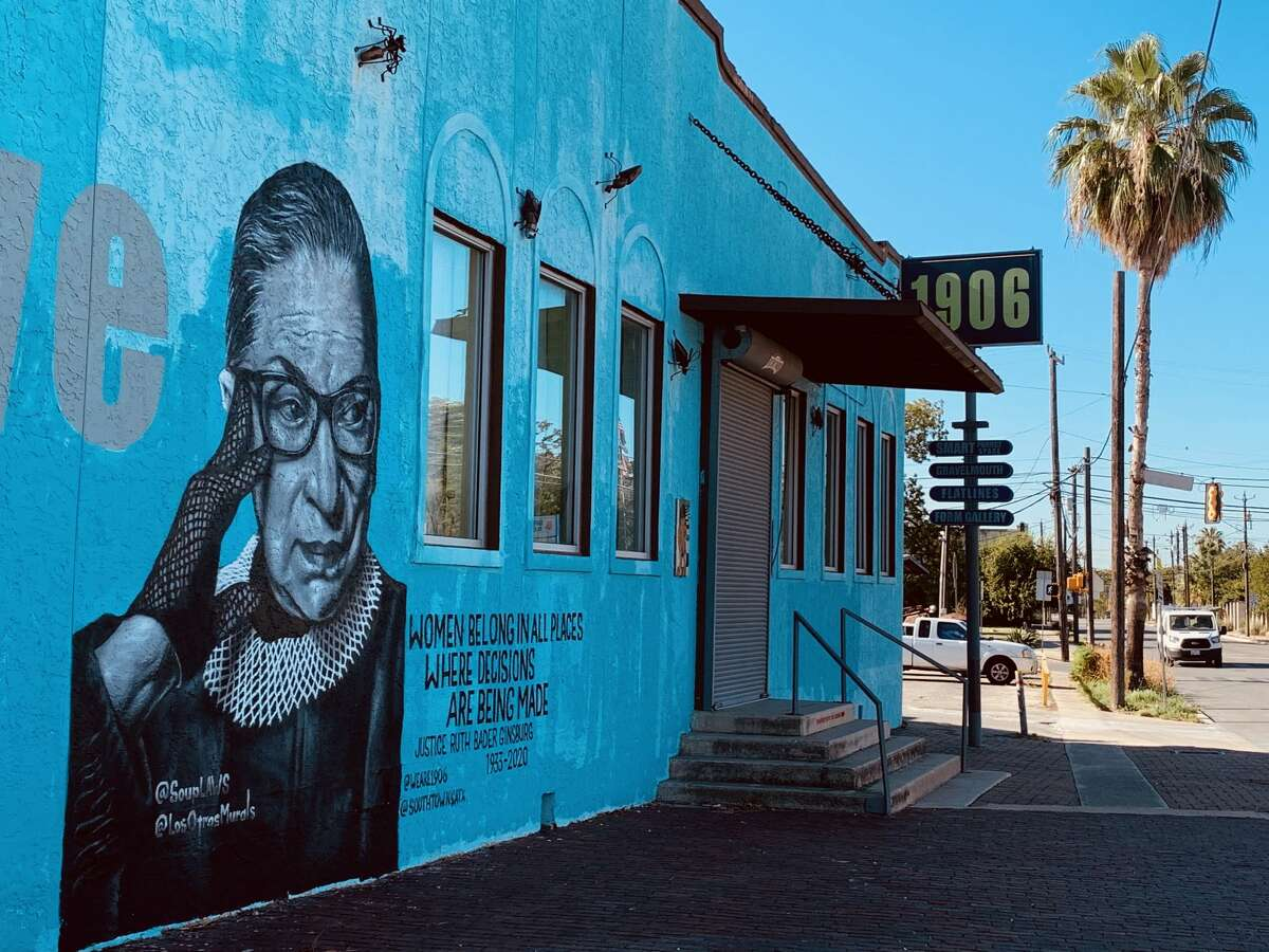 """""""It was a project I was hoping to work on, but I didn't really have a wall for it and I really didn't have the time,"""" the muralist said. """"But when Yvette and Andy Benavidez over at 1906 asked me, well, it's hard to turn down an opportunity to paint someone that has - and will continue - to inspire."""" Soupè painted a rendition of a photo taken by Sebastian Kim for Time Magazine for the annual """"100 Most Influential People"""" list in 2015. On Instagram, Kim remembered Ginsburg with a look back at that shoot saying the """"smirk and twinkle in her eyes"""" that he captured during his moment with the icon is how he wants to remember her."""