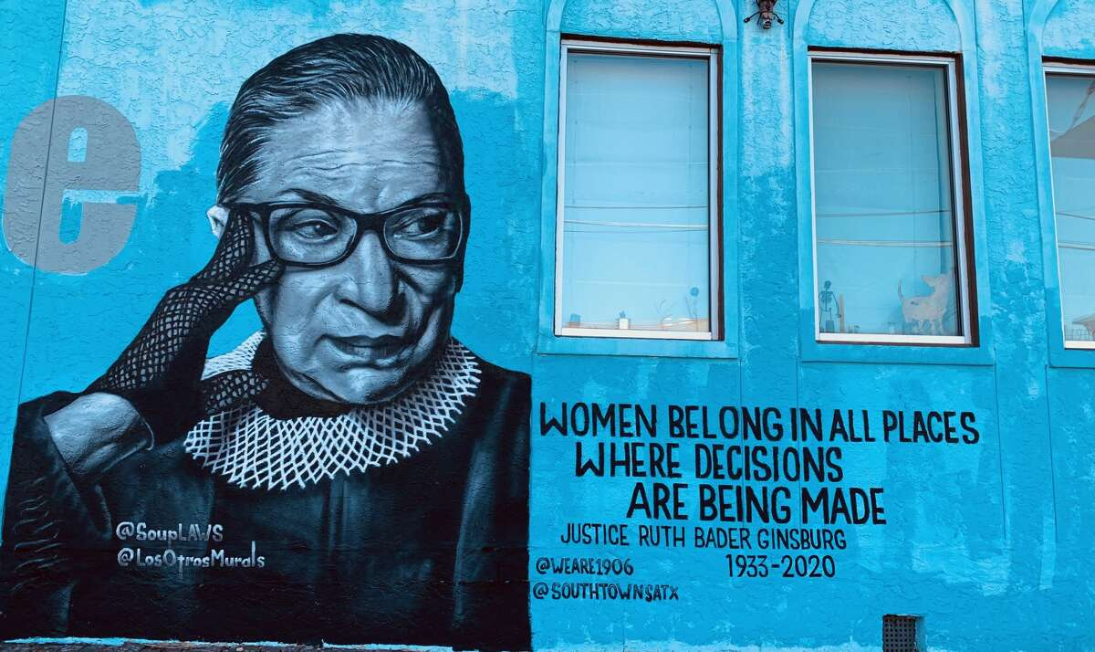 Muralist Nik Soupe graced a wall of The 1906 with a portrait of Ruth Bader Ginsburg.