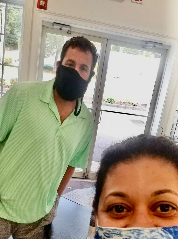 Adam Sandler stopped by Fred 06825 in Fairfield to pick up food on Sept. 28, 2020. Photo: Marisol Ballejo
