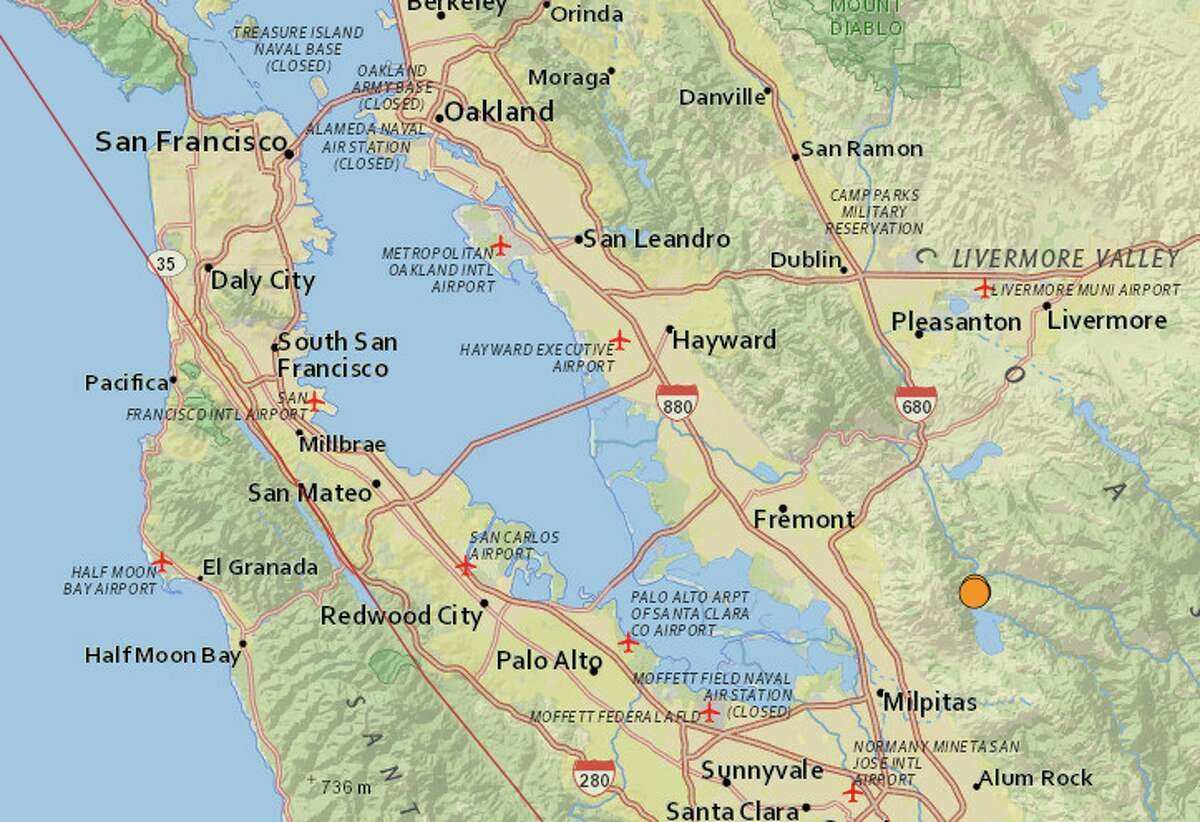 Four small earthquakes, the largest a 3.3 magnitude temblor, rocked the area near the Calaveras Reservoir northeast of Milpitas on Tuesday.