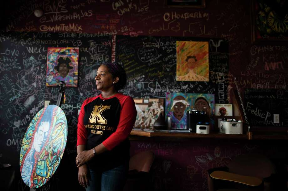 Kaffeine Coffee owner Orgena Keener misses the buzz of activity that used to resound in her coffee shop. Photo: Marie D. De Jesús, Staff Photographer / © 2020 Houston Chronicle