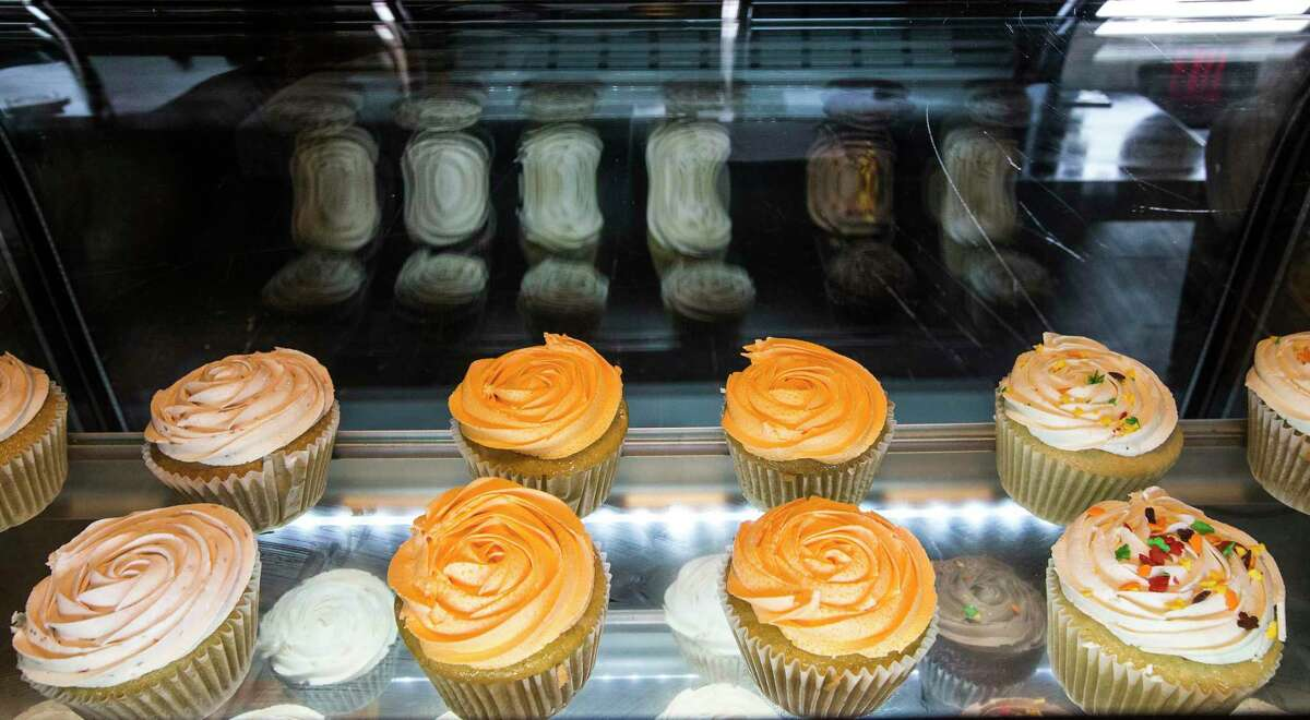 The display case of Wisdom Vegan Bakery was quite empty during the pandemic's peak, but has since replenished with cupcakes and other treats.