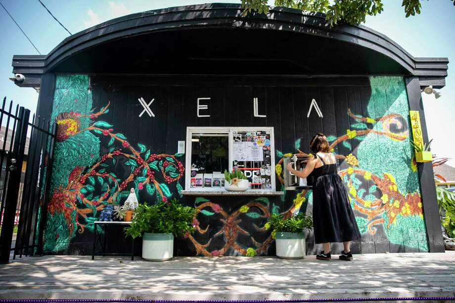 The social distancing-friendly order system at Xela Coffee Roasters includes a vault to collect purchases in a completely contactless way. Photo: Annie Mulligan, Houston Chronicle / Contributor / © 2020 Annie Mulligan / Houston Chronicle