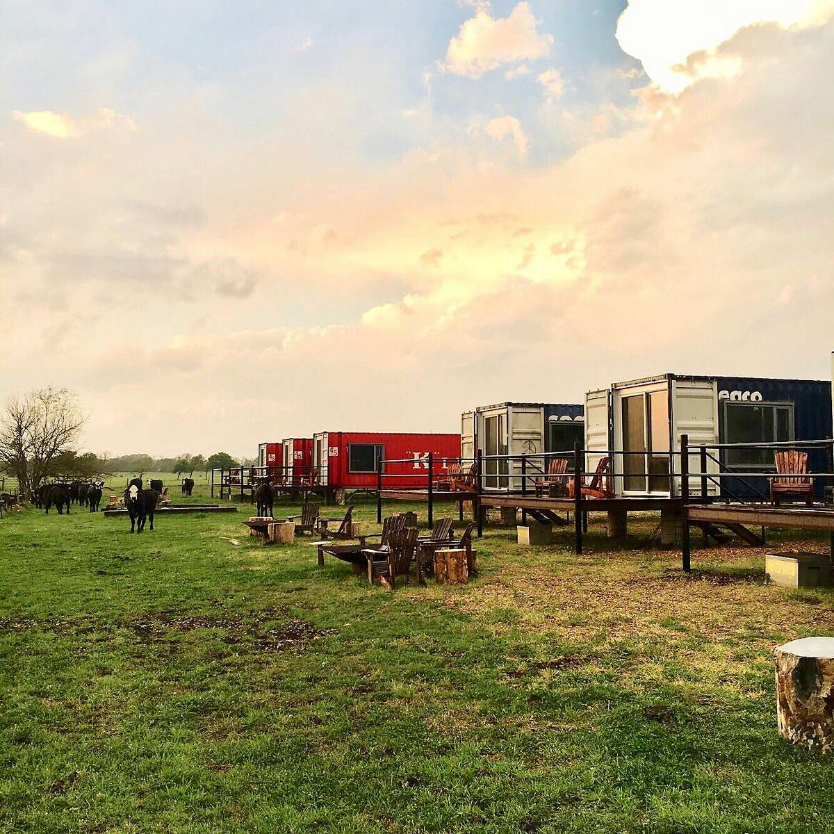 The Flophouze Hotel in Round Top has six suites, each an individual shipping container.
