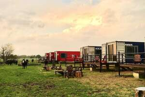 The Flophouze Hotel in Round Top, Texas, has six suites, each an individual shipping container.