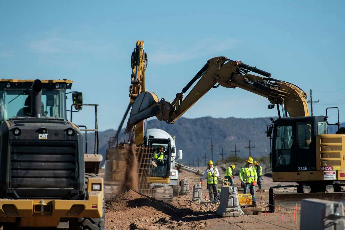 Border fence construction in the Organ Pipe Cactus National Monument in Lukeville, Ariz.
