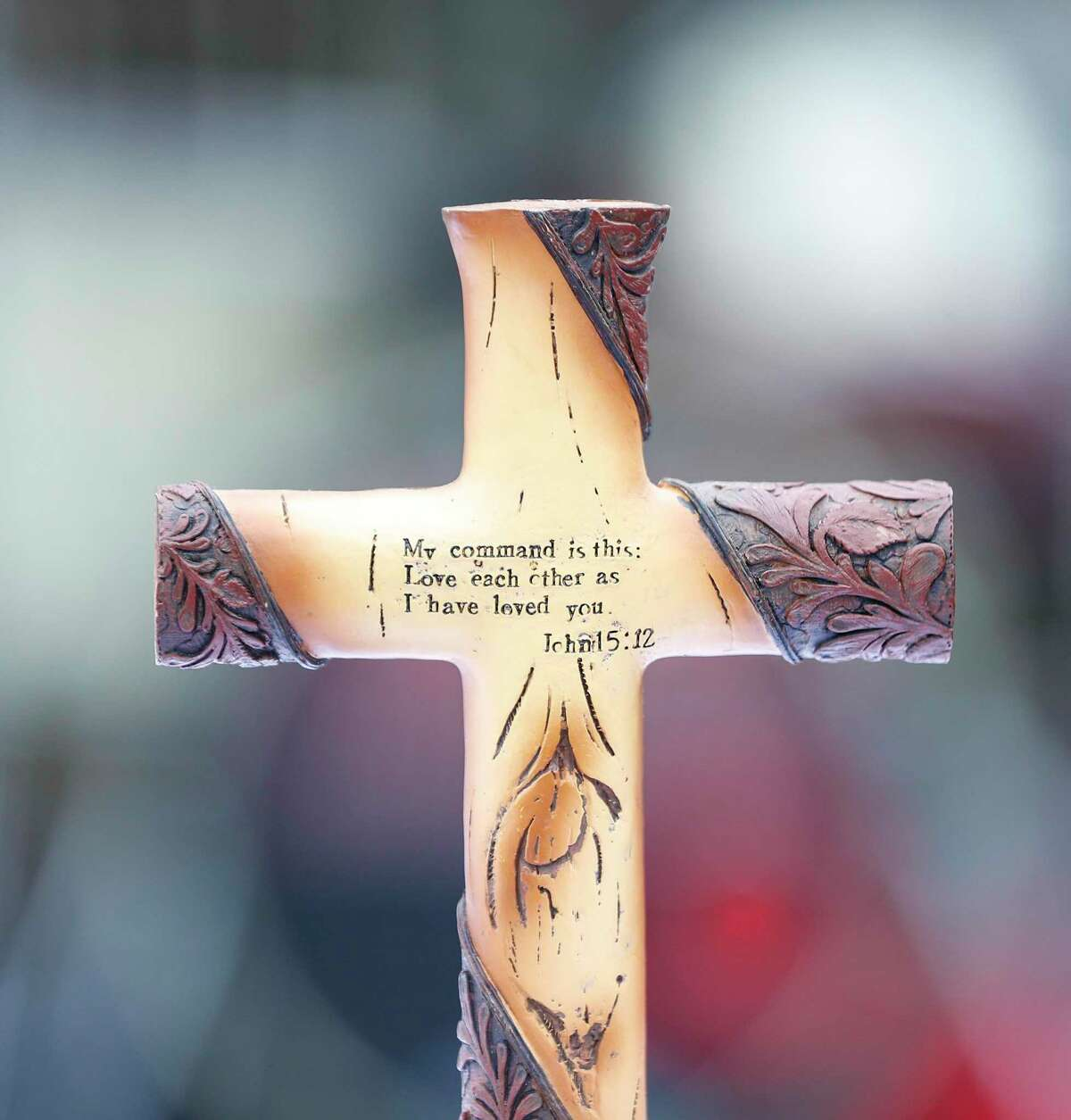 A cross on the makeshift alter before Pastor Steffon Arrington conducted Palm Sunday services to worshipers, who sat in their cars, in the parking lot of Spring Woods United Methodist Church, in Houston,Sunday, April 5, 2020. Communion was offered during the service, but with individual, pre-packaged wafers and juice.