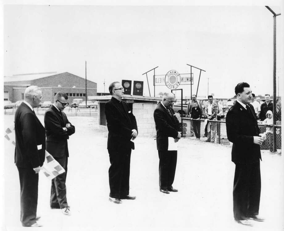 The dedication of Hamlin Field, located near the Manistee Armory, took place on June 9, 1963. (Manistee County Historical Museum photo)