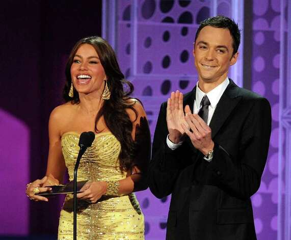 LOS ANGELES, CA - AUGUST 29:  Actress Sofia Vergara (L) and actor Jim Parsons present the Outstanding Writing for a Comedy Series award onstage at the 62nd Annual Primetime Emmy Awards held at the Nokia Theatre L.A. Live on August 29, 2010 in Los Angeles, California.  (Photo by Kevin Winter/Getty Images) *** Local Caption *** Sofia Vergara;Jim Parsons Photo: Kevin Winter, Getty Images / 2010 Getty Images