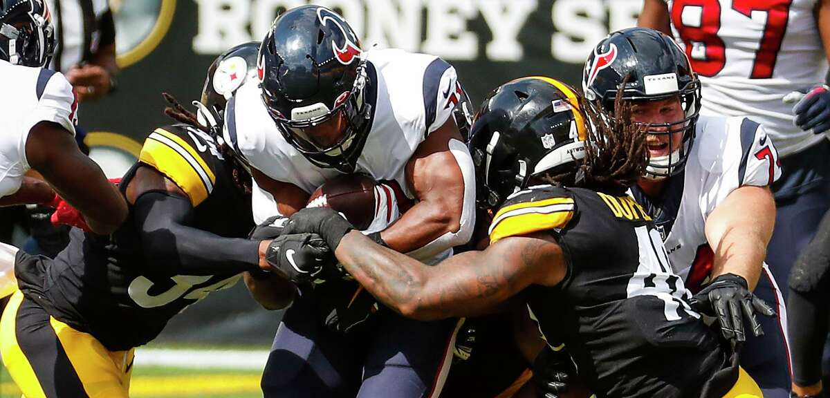David Johnson and the Texans had trouble running against the Steelers, especially on first down.