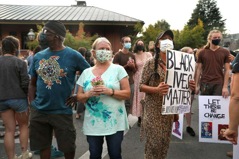 A Black Lives Matter rally seen in historic downtown on Saturday, Sept. 26, 2020, in Nevada City, Calif. Photo: Liz Hafalia / The Chronicle