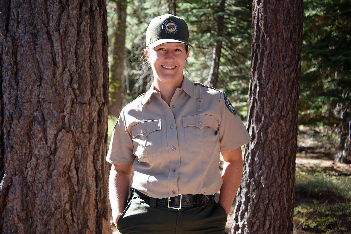 Courtney Rowe is a Senior Environmental Scientist in the California State Parks system. Rowe surveyed the grounds of Ed Z'berg Sugar Pine Point State Park on Sept. 24, 2020.