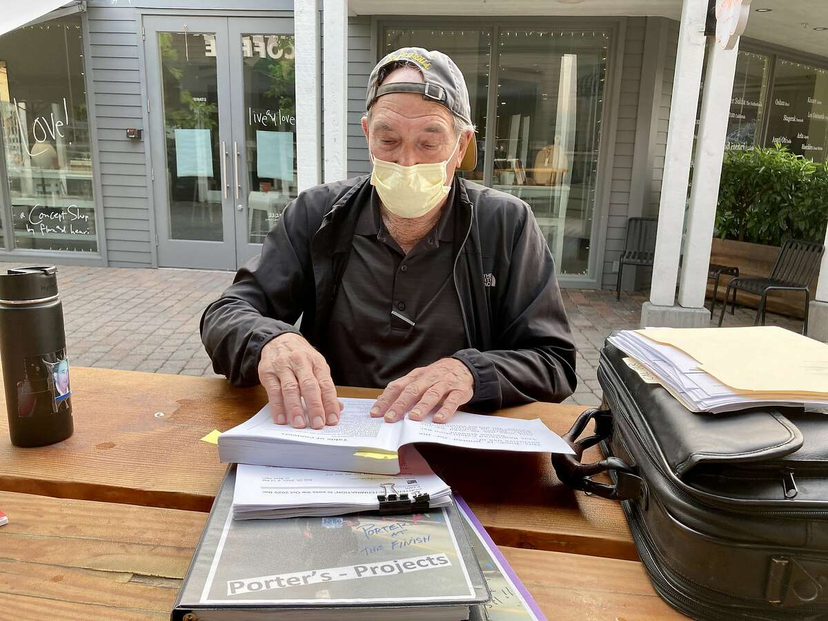 Porter Davis of Larkspur studies to take the bar exam at a cafe near his house. He failed the exam four times in the 1960s.