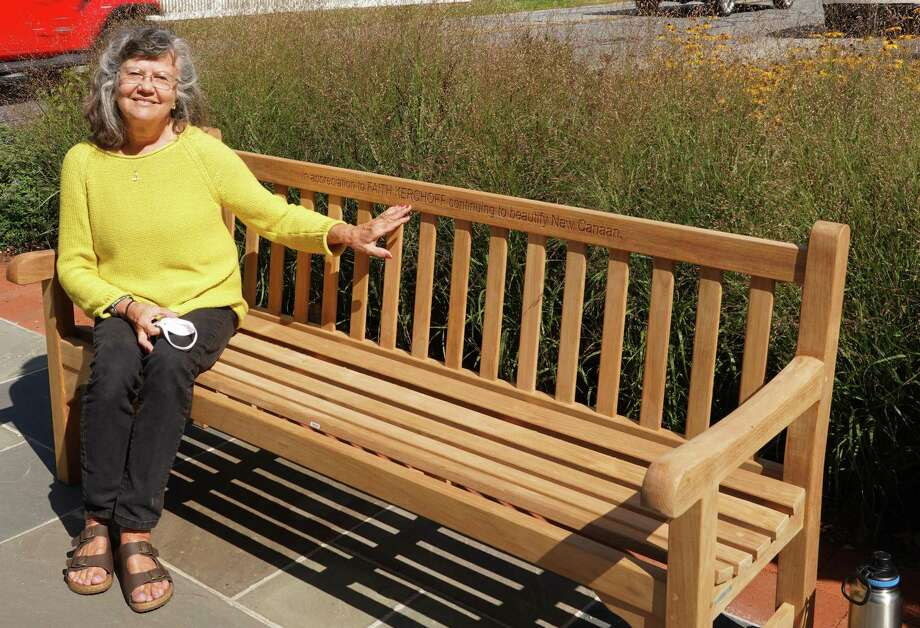 New Canaan Beautification League Vice President Faith Kerchoff has been honored with a bench in her honor at Mead Memorial Park in New Canaan, with her name engraved on it. Photo: Grace Duffield / Hearst Connecticut Media