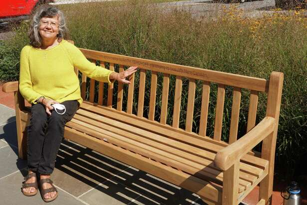 New Canaan Beautification League Vice President Faith Kerchoff has been honored with a bench in her honor at Mead Memorial Park in New Canaan, with her name engraved on it.