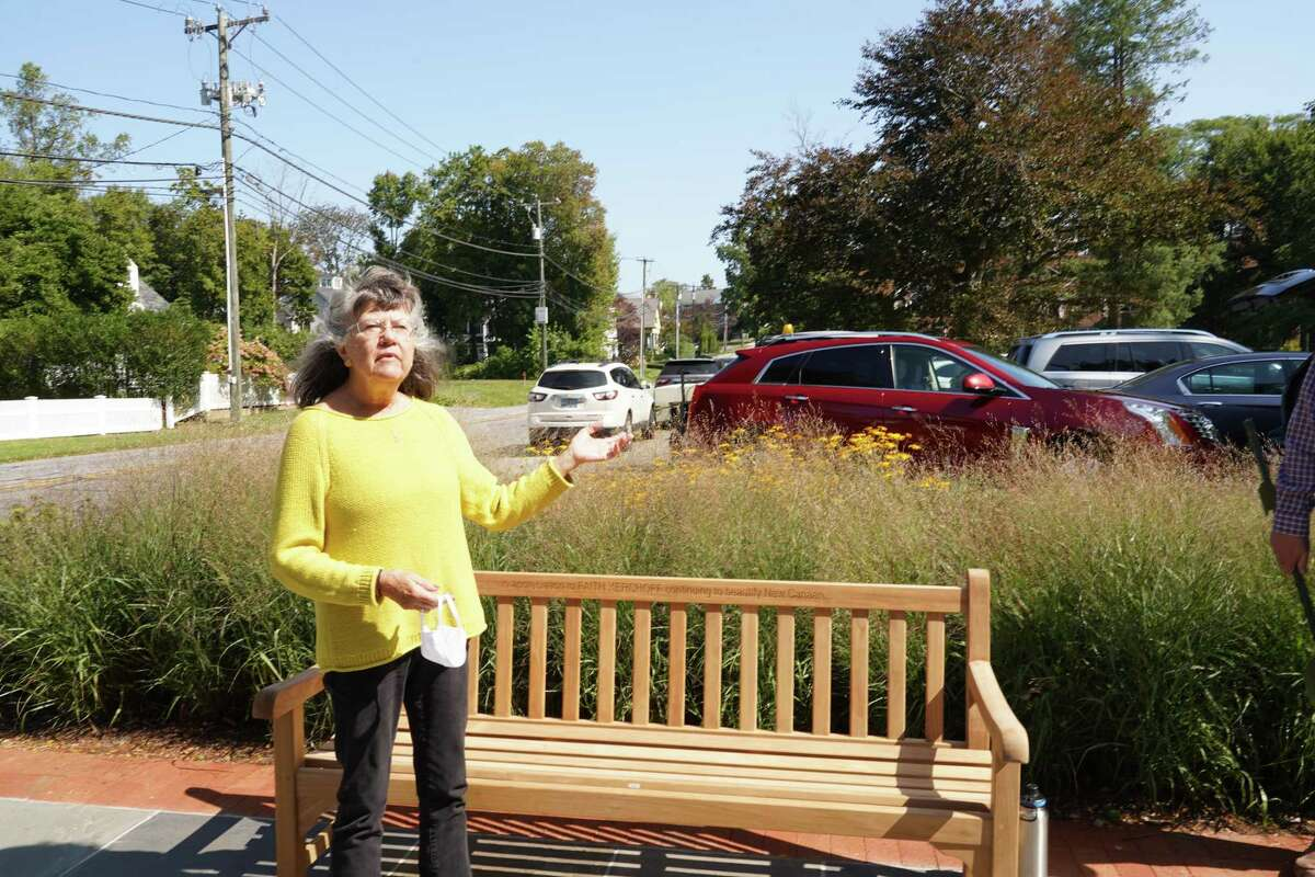 New Canaan Beautification League Vice President of Beautification Faith Kerchoff has been honored with a bench in her honor at Mead Memorial Park in New Canaan, with her name engraved on it.