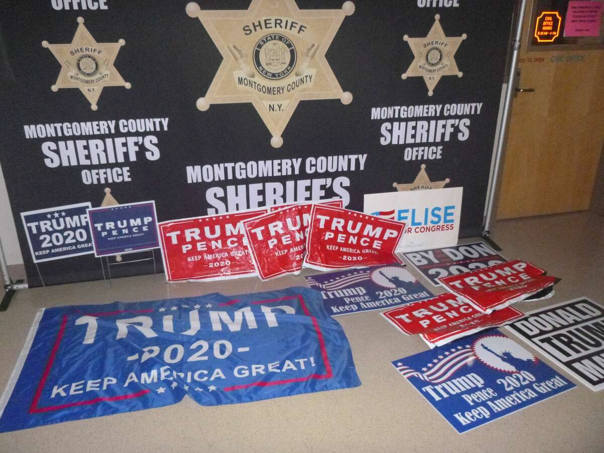 Trump campaign signs were recovered the car of a woman who allegedly drove around Montgomery and Schenectady counties stealing them on Sunday.