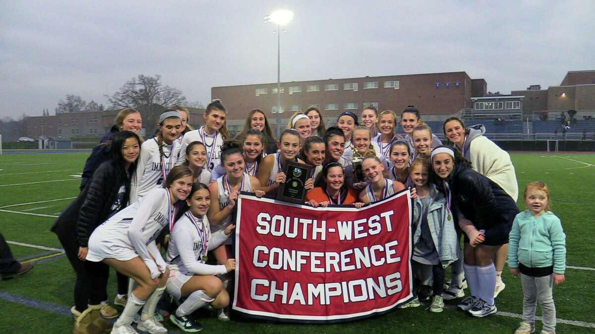 The Immaculate team celebrates winning the SWC championship game over New Milford 1-0 on Nov. 7.
