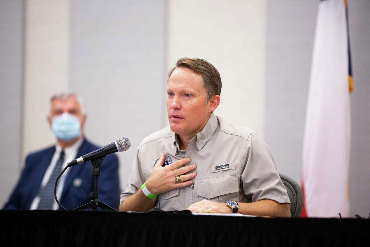 Texas Commission on Environmental Quality executive director Toby Baker speaks during a press conference Tuesday, Sept. 29, 2020 in Lake Jackson about the water supply and the steps to make it safe.