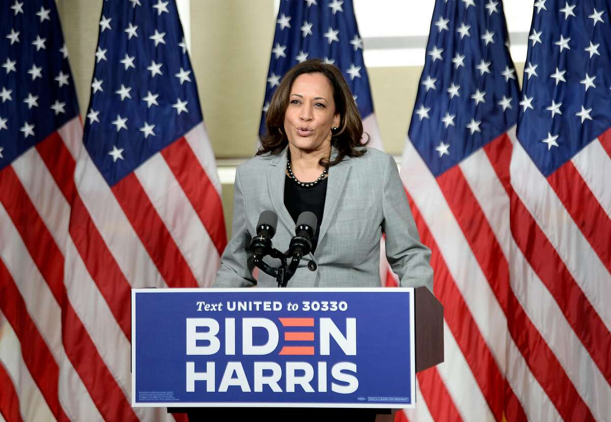 Democratic vice presidential nominee, Sen. Kamala Harris (D-CA) delivers remarks at Shaw University on September 28, 2020 in Raleigh, North Carolina.