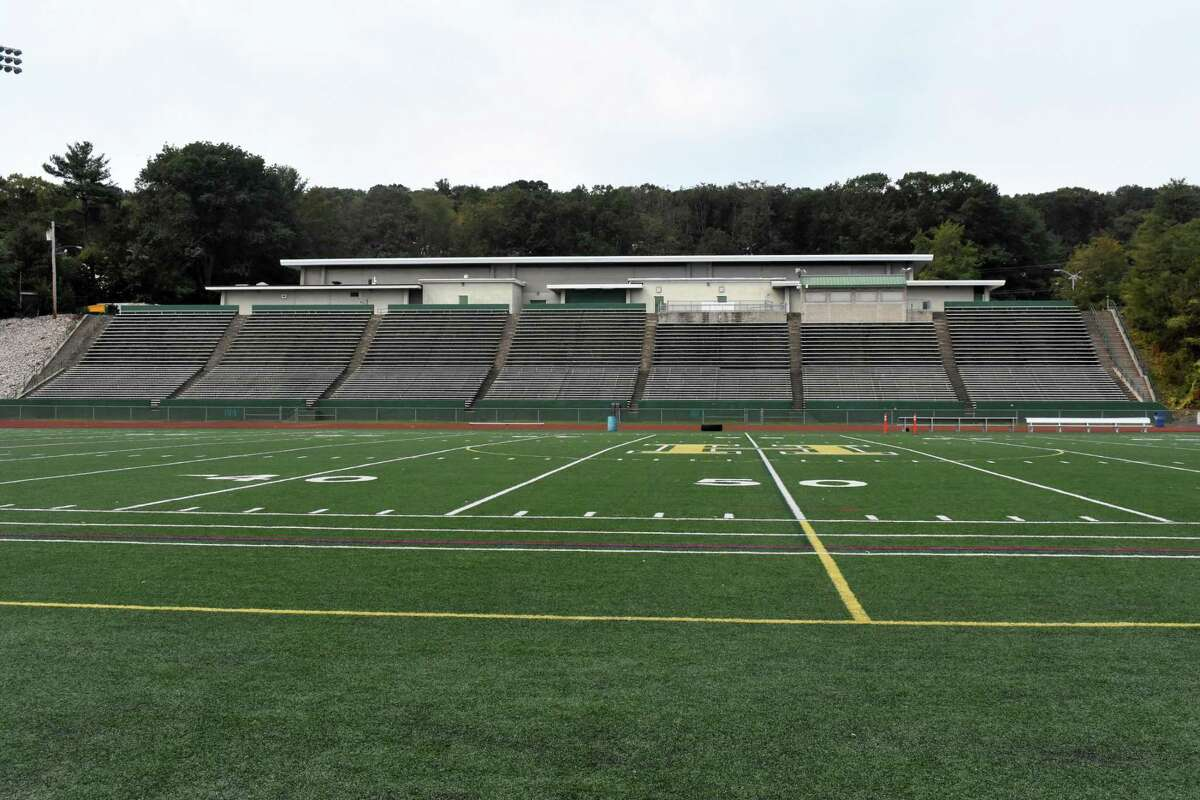 Joe F. Bruno Field at Hamden is empty during the afternoon on Thursday, Sept. 24, 2020. Across the state high schools are trying to determine whether or not fans will be allowed in attendance at sporting events this fall season