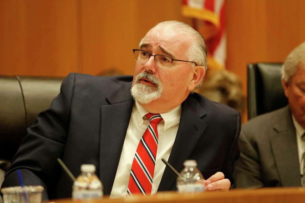 Harris County Precinct 4 Commissioner R. Jack Cagle, shown here in March 2020, announced during Tuesday's Commissioners Court meeting that he had tested positive for COVID-19.