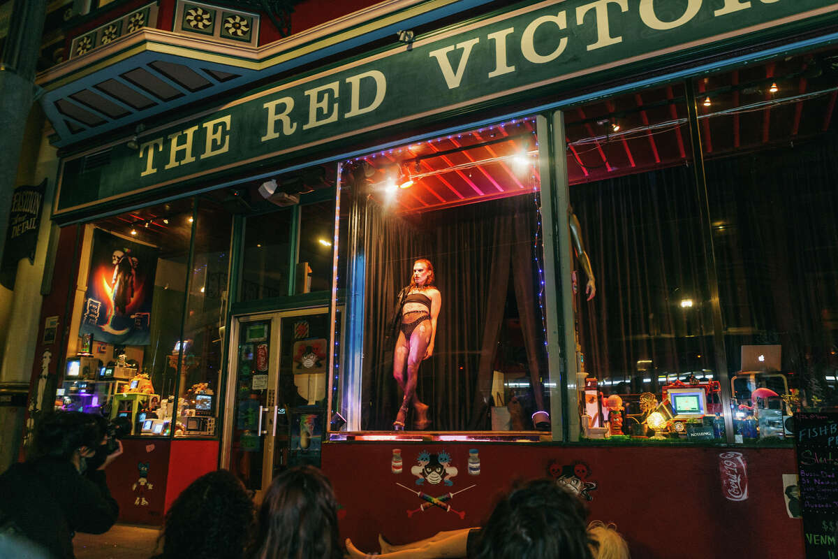 St. Nastine performs in the window of The Red Victorian on Saturday, Sept. 26, 2020.