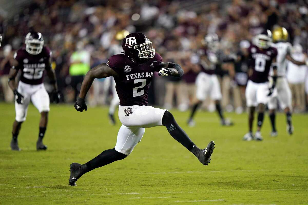 Micheal Clemons, celebrating a sack against Vanderbilt, has found a spot at defensive end for the Aggies.