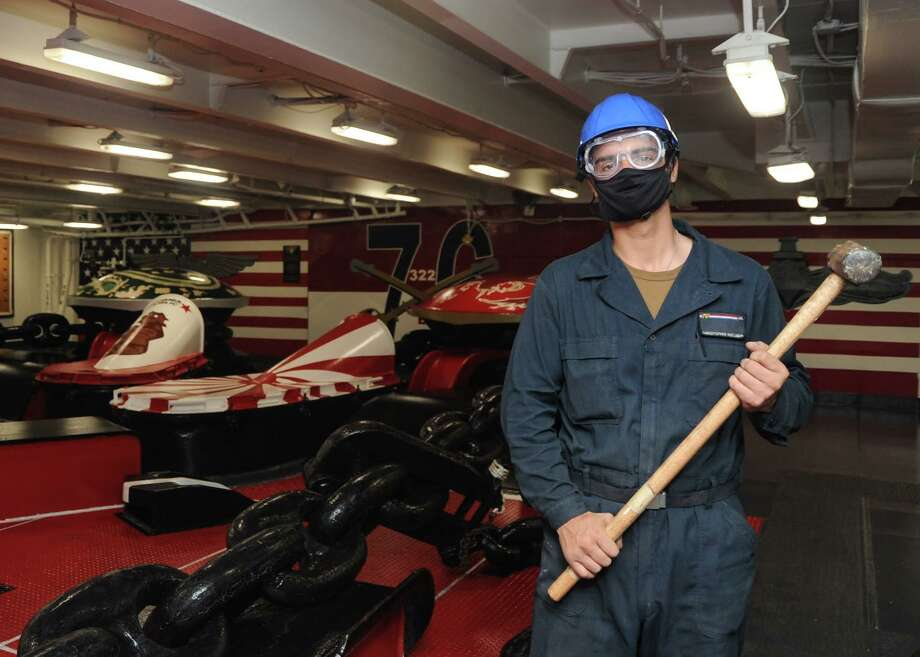 Christopher Huelsman, a New Haven native, is serving aboard USS Ronald Reagan during Exercise Valiant Shield. Photo: Contributed Photo